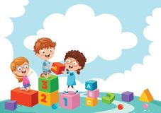Vector Illustration Of Kids Playing. Eps 10 stock illustration