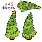Christmas tree 5 differences Royalty Free Stock Images