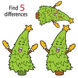 Tree differences. Vector illustration of kids puzzle educational game Find 5 differences for preschool children with cartoon christmas tree stock illustration
