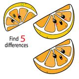 Lemon differences. Vector illustration of kids puzzle educational game Find 5 differences for preschool children with cartoon lemon vector illustration
