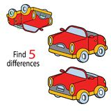 Car differences. Vector illustration of kids puzzle educational game Find 5 differences for preschool children with cartoon retro car vector illustration