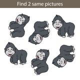 Gorilla find 2 same. Vector illustration of kids puzzle educational game Find same pictures for preschool children Royalty Free Stock Image