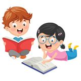 Vector Illustration Of Kids Reading Book. Eps 10 Stock Photos