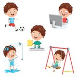Vector Illustration Of Kids Daily Routine Activities. Eps 10 stock illustration
