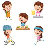 Vector Illustration Of Kids Daily Routine Activities. Eps 10 Royalty Free Stock Images