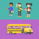 Vector illustration of kids at school and in bus. Stock Photography