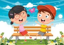 Vector Illustration Of Kids Sitting On Park Bench. Eps 10 Stock Photos