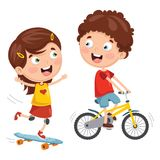 Vector Illustration Of Kids Skateboarding And Cycling. Eps 10 Stock Photos