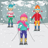 Vector Illustration Of Kids Skiing. 