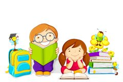 Kids studying. Vector illustration of kids studying book with bee Stock Photos