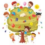 Vector Illustration Of Kids Studying On Tree. Eps 10 Royalty Free Illustration