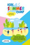 Vector Illustration Kids Summer Camp Holidays. Vertical Flat Banner School Summer Vacation. Against Blue Sky and White Clouds Teenagers on Shore Natural Pond stock illustration