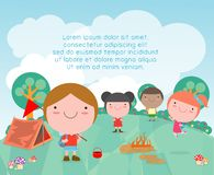 Vector illustration of kids summer camp, Kids on a Camping Trip,children camper characters and camping on summer vacation. Template for advertising brochure stock illustration
