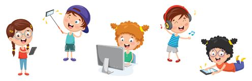 Vector Illustration Of Kids Technology. Eps 10 royalty free illustration