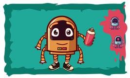 Vector illustration: kind bot painter stock illustration