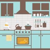 Vector illustration of kitchen with furniture. Kitchen utensils royalty free illustration