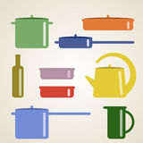 Vector illustration with kitchen shelves and cooking utensils. Royalty Free Stock Image