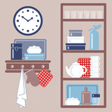 Vector illustration with kitchen shelves and cooking utensils. Stock Image