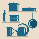 Vector illustration with kitchen shelves and cooking utensils. Royalty Free Stock Photography
