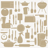Vector illustration of kitchen tools for cooking Royalty Free Stock Photo