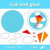 Vector illustration. kite and clouds.. Education paper game for vector illustration