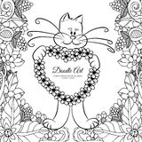 Vector illustration , kitty holding a heart in the flowers. Doodle drawing. Coloring book anti stress for adults. Black Stock Images