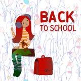 Vector Illustration, kleines Mädchen auf einem Schwingen, zurück zu Schule Lizenzfreie Stockbilder