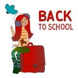 Vector Illustration, kleines Mädchen auf einem Schwingen, zurück zu Schule Stockfotografie