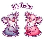 Vector illustration of koala twins in cartoon Royalty Free Stock Photography