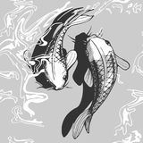 Koi fish seamless pattern. Vector illustration of a koi fish. Black and white handdrawn style Royalty Free Stock Photo