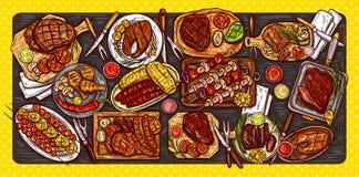 Vector Illustration, kulinarische Fahne, Grillhintergrund mit gegrilltem Fleisch, Würste, Gemüse und Soßen stock abbildung