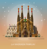 Vector illustration of La Sagrada Familia - the impressive cathedral designed by Gaudi on a white background. Royalty Free Stock Image