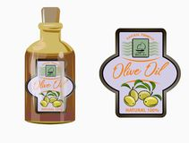 Vector illustration of a label of olive oil stock images