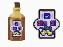 Vector illustration of a label of olive oil royalty free stock photo