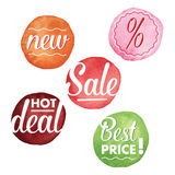 Vector illustration labels set in watercolor Royalty Free Stock Images