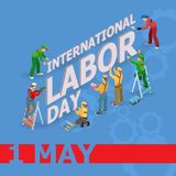 Vector illustration of Labor Day. Isometric icons. 1 May greeting card. Labor Day poster with workers men and tools isolated on blue background. May Day Stock Image