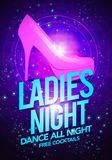 Vector illustration ladies night dancing event flyer poster template with high heeled shoes. And glossy background Royalty Free Stock Images