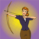 Vector illustration of lady archer, retro pop art comic style Royalty Free Stock Photos