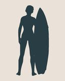 Vector illustration of lady posing with surfboard Stock Images
