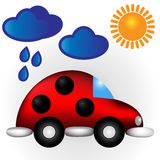 Vector illustration ladybug car under clouds & sun. Vector illustration - ladybug car under clouds and sun. Colorful woman's auto for your design Stock Photos