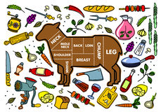 Vector illustration of lamb and vegetables Royalty Free Stock Photography