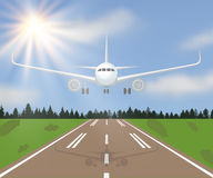 Vector illustration of a landing or taking off plane with forest, grass and sun on sky background Stock Images