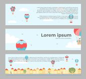 Banners with hot air balloons in town. Vector illustration of landscape with hot air balloons in blue sky in town. Banners with isolated flat cartoon air Stock Photos