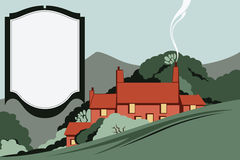 Vector illustration. Landscape. Houses in the mountains among the trees. Space for messages Royalty Free Stock Images