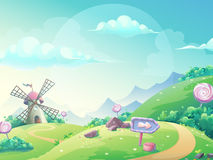 Vector illustration landscape with marmalade candy mill Stock Photography