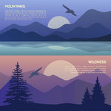 Vector illustration of landscape in north areas Royalty Free Stock Images