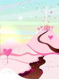 Vector illustration. Landscape with a river of chocolate and sugar mountains. Pink field. Landscape for browser Igor Valentine`s Day Stock Image