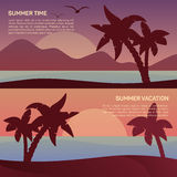 Vector illustration of landscape in tropics Royalty Free Stock Photo