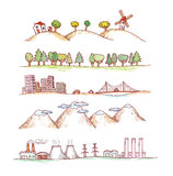 Vector illustration of  landscapes. Doodles hand-drawn style. Stock Images