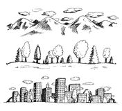 Vector illustration of landscapes hand drawn doodles style Royalty Free Stock Images
